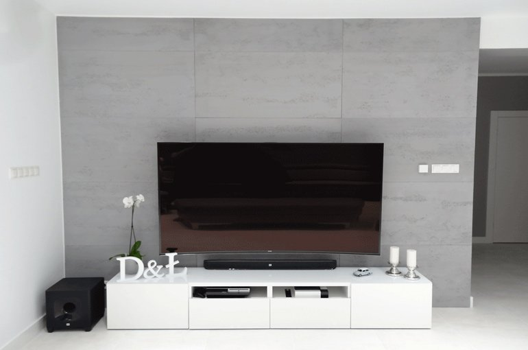 architekturbeton wand mit tv